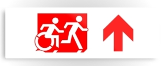 Accessible Exit Sign Project Wheelchair Wheelie Running Man Symbol Means of Egress Icon Disability Emergency Evacuation Fire Safety Metal Printed 53