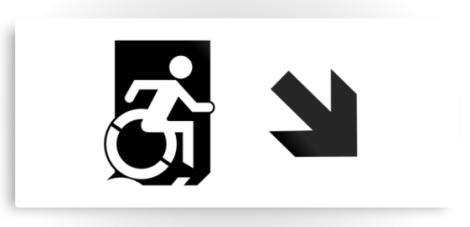 Accessible Exit Sign Project Wheelchair Wheelie Running Man Symbol Means of Egress Icon Disability Emergency Evacuation Fire Safety Metal Printed 54