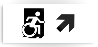 Accessible Exit Sign Project Wheelchair Wheelie Running Man Symbol Means of Egress Icon Disability Emergency Evacuation Fire Safety Metal Printed 55