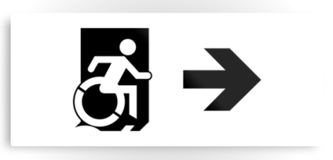 Accessible Exit Sign Project Wheelchair Wheelie Running Man Symbol Means of Egress Icon Disability Emergency Evacuation Fire Safety Metal Printed 56