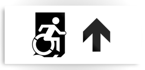 Accessible Exit Sign Project Wheelchair Wheelie Running Man Symbol Means of Egress Icon Disability Emergency Evacuation Fire Safety Metal Printed 57