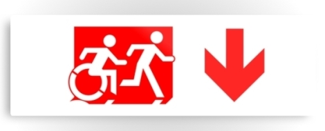 Accessible Exit Sign Project Wheelchair Wheelie Running Man Symbol Means of Egress Icon Disability Emergency Evacuation Fire Safety Metal Printed 58