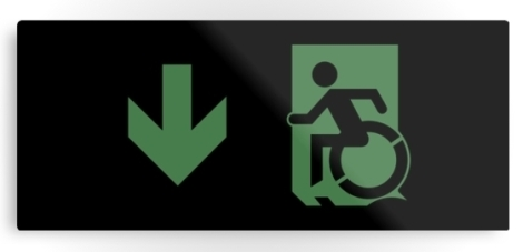 Accessible Exit Sign Project Wheelchair Wheelie Running Man Symbol Means of Egress Icon Disability Emergency Evacuation Fire Safety Metal Printed 59