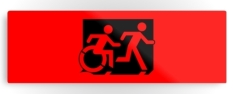 Accessible Exit Sign Project Wheelchair Wheelie Running Man Symbol Means of Egress Icon Disability Emergency Evacuation Fire Safety Metal Printed 6