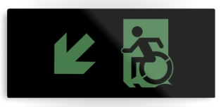 Accessible Exit Sign Project Wheelchair Wheelie Running Man Symbol Means of Egress Icon Disability Emergency Evacuation Fire Safety Metal Printed 60