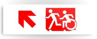 Accessible Exit Sign Project Wheelchair Wheelie Running Man Symbol Means of Egress Icon Disability Emergency Evacuation Fire Safety Metal Printed 62