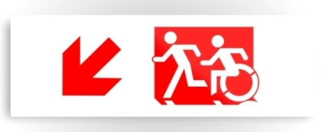 Accessible Exit Sign Project Wheelchair Wheelie Running Man Symbol Means of Egress Icon Disability Emergency Evacuation Fire Safety Metal Printed 63
