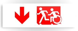 Accessible Exit Sign Project Wheelchair Wheelie Running Man Symbol Means of Egress Icon Disability Emergency Evacuation Fire Safety Metal Printed 64