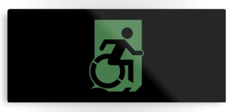 Accessible Exit Sign Project Wheelchair Wheelie Running Man Symbol Means of Egress Icon Disability Emergency Evacuation Fire Safety Metal Printed 65