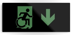 Accessible Exit Sign Project Wheelchair Wheelie Running Man Symbol Means of Egress Icon Disability Emergency Evacuation Fire Safety Metal Printed 66