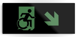 Accessible Exit Sign Project Wheelchair Wheelie Running Man Symbol Means of Egress Icon Disability Emergency Evacuation Fire Safety Metal Printed 67