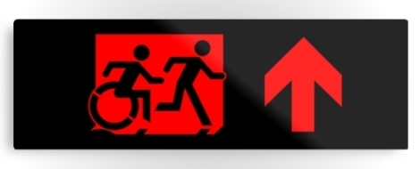 Accessible Exit Sign Project Wheelchair Wheelie Running Man Symbol Means of Egress Icon Disability Emergency Evacuation Fire Safety Metal Printed 68
