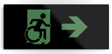 Accessible Exit Sign Project Wheelchair Wheelie Running Man Symbol Means of Egress Icon Disability Emergency Evacuation Fire Safety Metal Printed 69