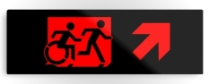 Accessible Exit Sign Project Wheelchair Wheelie Running Man Symbol Means of Egress Icon Disability Emergency Evacuation Fire Safety Metal Printed 70