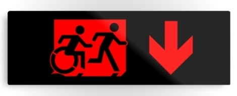 Accessible Exit Sign Project Wheelchair Wheelie Running Man Symbol Means of Egress Icon Disability Emergency Evacuation Fire Safety Metal Printed 71