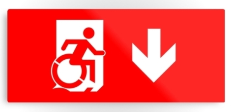 Accessible Exit Sign Project Wheelchair Wheelie Running Man Symbol Means of Egress Icon Disability Emergency Evacuation Fire Safety Metal Printed 7
