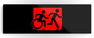 Accessible Exit Sign Project Wheelchair Wheelie Running Man Symbol Means of Egress Icon Disability Emergency Evacuation Fire Safety Metal Printed 72