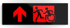 Accessible Exit Sign Project Wheelchair Wheelie Running Man Symbol Means of Egress Icon Disability Emergency Evacuation Fire Safety Metal Printed 73
