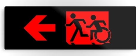 Accessible Exit Sign Project Wheelchair Wheelie Running Man Symbol Means of Egress Icon Disability Emergency Evacuation Fire Safety Metal Printed 74