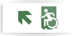 Accessible Exit Sign Project Wheelchair Wheelie Running Man Symbol Means of Egress Icon Disability Emergency Evacuation Fire Safety Metal Printed 75