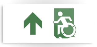 Accessible Exit Sign Project Wheelchair Wheelie Running Man Symbol Means of Egress Icon Disability Emergency Evacuation Fire Safety Metal Printed 77