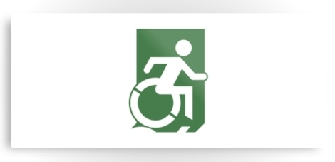 Accessible Exit Sign Project Wheelchair Wheelie Running Man Symbol Means of Egress Icon Disability Emergency Evacuation Fire Safety Metal Printed 78