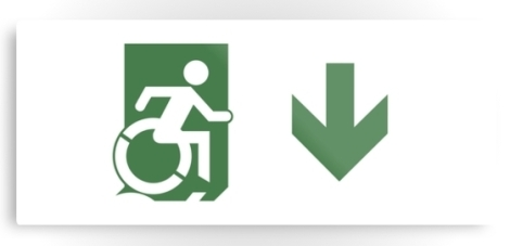 Accessible Exit Sign Project Wheelchair Wheelie Running Man Symbol Means of Egress Icon Disability Emergency Evacuation Fire Safety Metal Printed 79