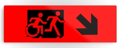 Accessible Exit Sign Project Wheelchair Wheelie Running Man Symbol Means of Egress Icon Disability Emergency Evacuation Fire Safety Metal Printed 8