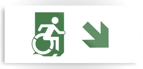 Accessible Exit Sign Project Wheelchair Wheelie Running Man Symbol Means of Egress Icon Disability Emergency Evacuation Fire Safety Metal Printed 80
