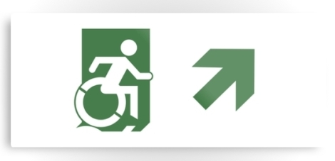 Accessible Exit Sign Project Wheelchair Wheelie Running Man Symbol Means of Egress Icon Disability Emergency Evacuation Fire Safety Metal Printed 81