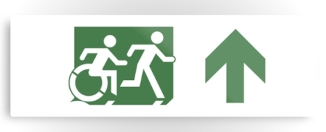 Accessible Exit Sign Project Wheelchair Wheelie Running Man Symbol Means of Egress Icon Disability Emergency Evacuation Fire Safety Metal Printed 82
