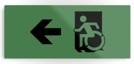 Accessible Exit Sign Project Wheelchair Wheelie Running Man Symbol Means of Egress Icon Disability Emergency Evacuation Fire Safety Metal Printed 83