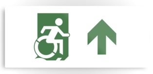 Accessible Exit Sign Project Wheelchair Wheelie Running Man Symbol Means of Egress Icon Disability Emergency Evacuation Fire Safety Metal Printed 84