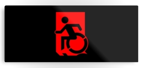 Accessible Exit Sign Project Wheelchair Wheelie Running Man Symbol Means of Egress Icon Disability Emergency Evacuation Fire Safety Metal Printed 85