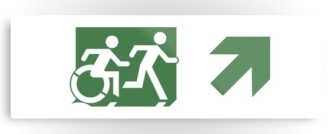 Accessible Exit Sign Project Wheelchair Wheelie Running Man Symbol Means of Egress Icon Disability Emergency Evacuation Fire Safety Metal Printed 86