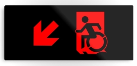 Accessible Exit Sign Project Wheelchair Wheelie Running Man Symbol Means of Egress Icon Disability Emergency Evacuation Fire Safety Metal Printed 87