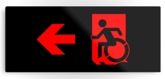 Accessible Exit Sign Project Wheelchair Wheelie Running Man Symbol Means of Egress Icon Disability Emergency Evacuation Fire Safety Metal Printed 89