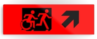 Accessible Exit Sign Project Wheelchair Wheelie Running Man Symbol Means of Egress Icon Disability Emergency Evacuation Fire Safety Metal Printed 9