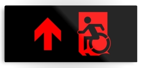 Accessible Exit Sign Project Wheelchair Wheelie Running Man Symbol Means of Egress Icon Disability Emergency Evacuation Fire Safety Metal Printed 90
