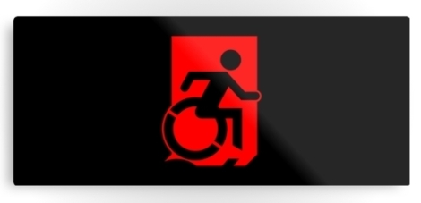 Accessible Exit Sign Project Wheelchair Wheelie Running Man Symbol Means of Egress Icon Disability Emergency Evacuation Fire Safety Metal Printed 91