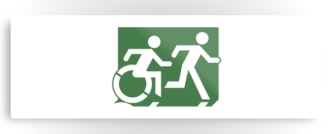 Accessible Exit Sign Project Wheelchair Wheelie Running Man Symbol Means of Egress Icon Disability Emergency Evacuation Fire Safety Metal Printed 92