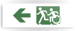 Accessible Exit Sign Project Wheelchair Wheelie Running Man Symbol Means of Egress Icon Disability Emergency Evacuation Fire Safety Metal Printed 93