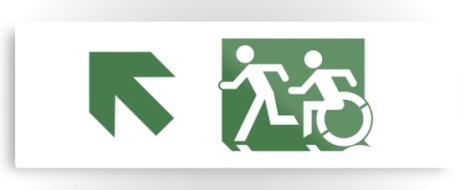 Accessible Exit Sign Project Wheelchair Wheelie Running Man Symbol Means of Egress Icon Disability Emergency Evacuation Fire Safety Metal Printed 94