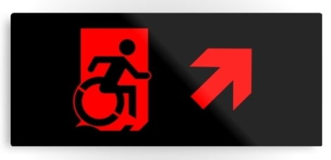 Accessible Exit Sign Project Wheelchair Wheelie Running Man Symbol Means of Egress Icon Disability Emergency Evacuation Fire Safety Metal Printed 95
