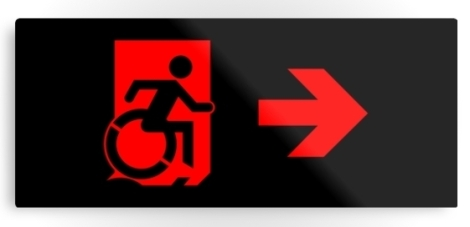 Accessible Exit Sign Project Wheelchair Wheelie Running Man Symbol Means of Egress Icon Disability Emergency Evacuation Fire Safety Metal Printed 96