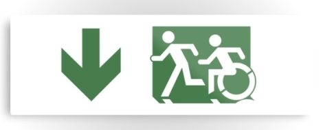 Accessible Exit Sign Project Wheelchair Wheelie Running Man Symbol Means of Egress Icon Disability Emergency Evacuation Fire Safety Metal Printed 97