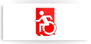 Accessible Exit Sign Project Wheelchair Wheelie Running Man Symbol Means of Egress Icon Disability Emergency Evacuation Fire Safety Metal Printed 98