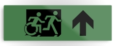 Accessible Exit Sign Project Wheelchair Wheelie Running Man Symbol Means of Egress Icon Disability Emergency Evacuation Fire Safety Metal Printed 99