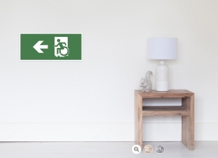 Accessible Exit Sign Project Wheelchair Wheelie Running Man Symbol Means of Egress Icon Disability Emergency Evacuation Fire Safety Poster 105
