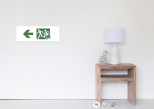 Accessible Exit Sign Project Wheelchair Wheelie Running Man Symbol Means of Egress Icon Disability Emergency Evacuation Fire Safety Poster 107